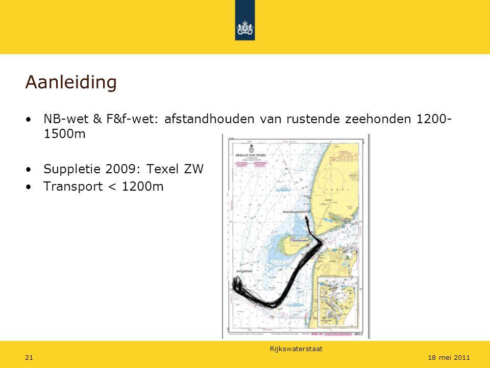 Rijkswaterstaat 2118 mei 2011 Aanleiding NB-wet & F&f-wet: afstandhouden van rustende zeehonden 1200- 1500m Suppletie 2009: Texel ZW Transport < 1200m
