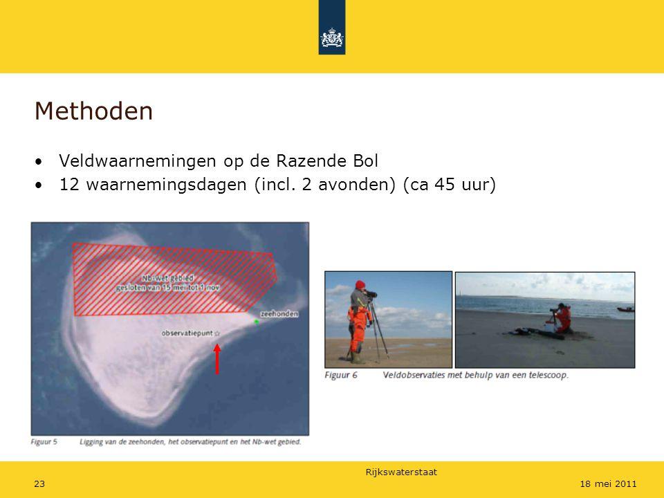 Rijkswaterstaat 2318 mei 2011 Methoden Veldwaarnemingen op de Razende Bol 12 waarnemingsdagen (incl. 2 avonden) (ca 45 uur)