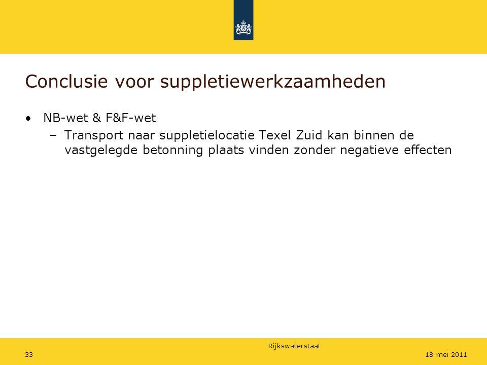 Rijkswaterstaat 3318 mei 2011 Conclusie voor suppletiewerkzaamheden NB-wet & F&F-wet –Transport naar suppletielocatie Texel Zuid kan binnen de vastgelegde betonning plaats vinden zonder negatieve effecten