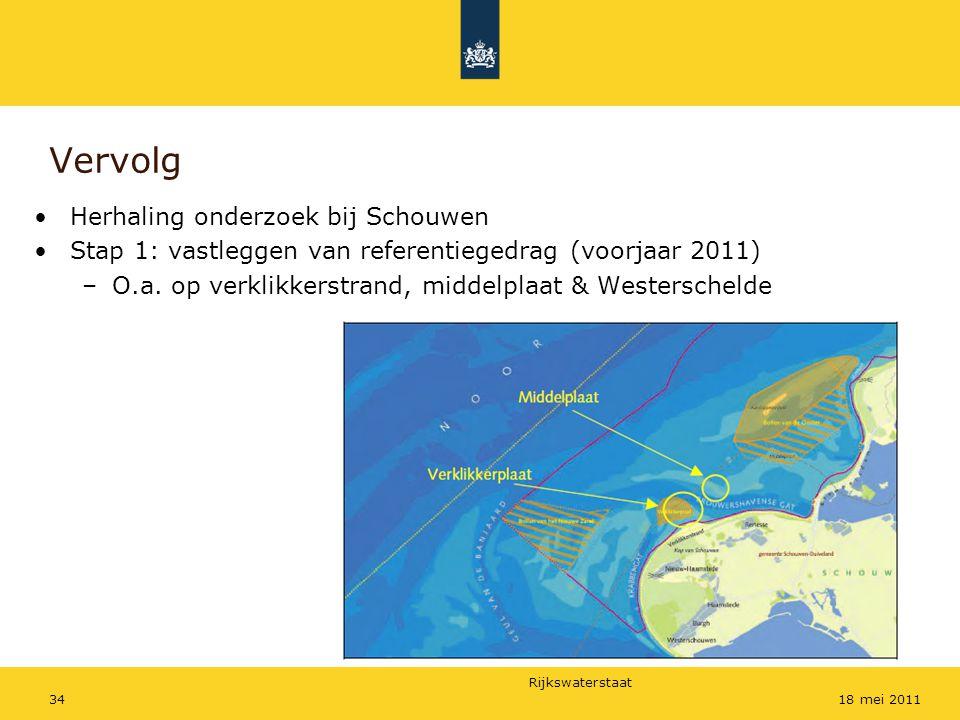 Rijkswaterstaat 3418 mei 2011 Vervolg Herhaling onderzoek bij Schouwen Stap 1: vastleggen van referentiegedrag (voorjaar 2011) –O.a.