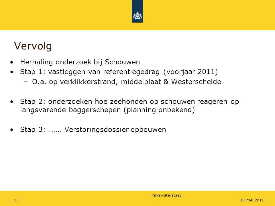 Rijkswaterstaat 3518 mei 2011 Vervolg Herhaling onderzoek bij Schouwen Stap 1: vastleggen van referentiegedrag (voorjaar 2011) –O.a.
