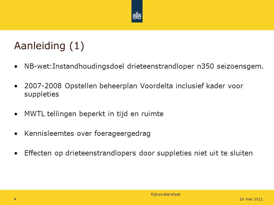 Rijkswaterstaat 418 mei 2011 Aanleiding (1) NB-wet:Instandhoudingsdoel drieteenstrandloper n350 seizoensgem. 2007-2008 Opstellen beheerplan Voordelta