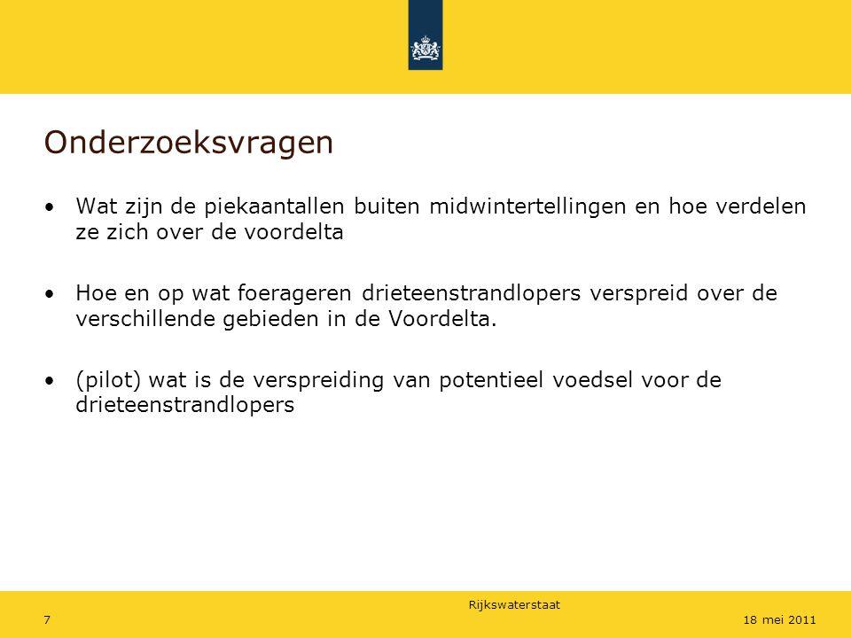 Rijkswaterstaat 718 mei 2011 Onderzoeksvragen Wat zijn de piekaantallen buiten midwintertellingen en hoe verdelen ze zich over de voordelta Hoe en op wat foerageren drieteenstrandlopers verspreid over de verschillende gebieden in de Voordelta.