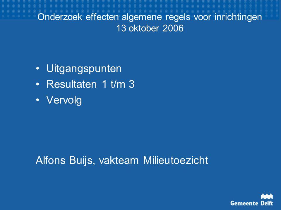 Onderzoek effecten algemene regels voor inrichtingen 13 oktober 2006 Uitgangspunten Resultaten 1 t/m 3 Vervolg Alfons Buijs, vakteam Milieutoezicht