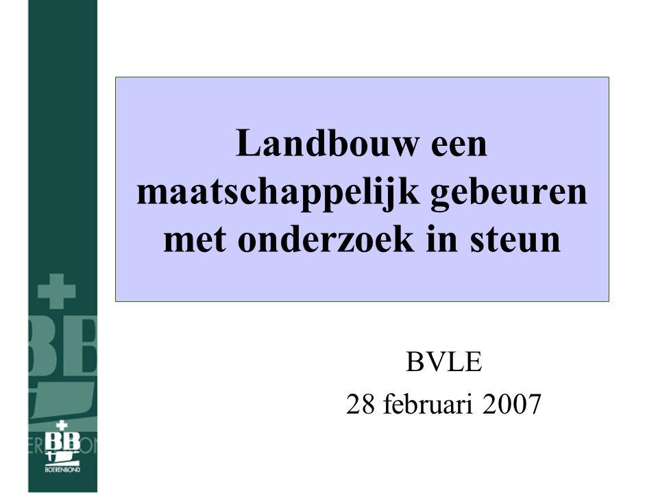Landbouw een maatschappelijk gebeuren met onderzoek in steun BVLE 28 februari 2007