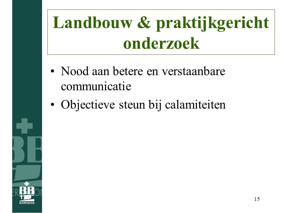 15 Landbouw & praktijkgericht onderzoek Nood aan betere en verstaanbare communicatie Objectieve steun bij calamiteiten