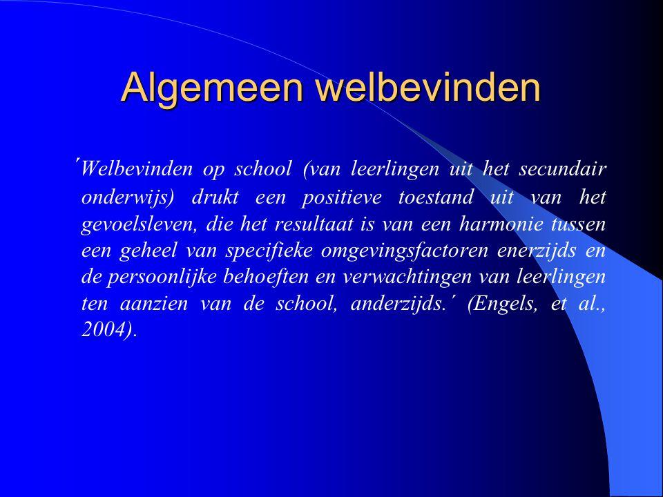 Algemeen welbevinden ´ Welbevinden op school (van leerlingen uit het secundair onderwijs) drukt een positieve toestand uit van het gevoelsleven, die h