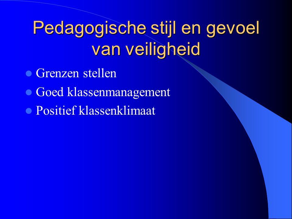 Pedagogische stijl en gedrag Aanbrengen van structuur Overdracht van normen en waarden Goed klassenmanagement Responsieve houding
