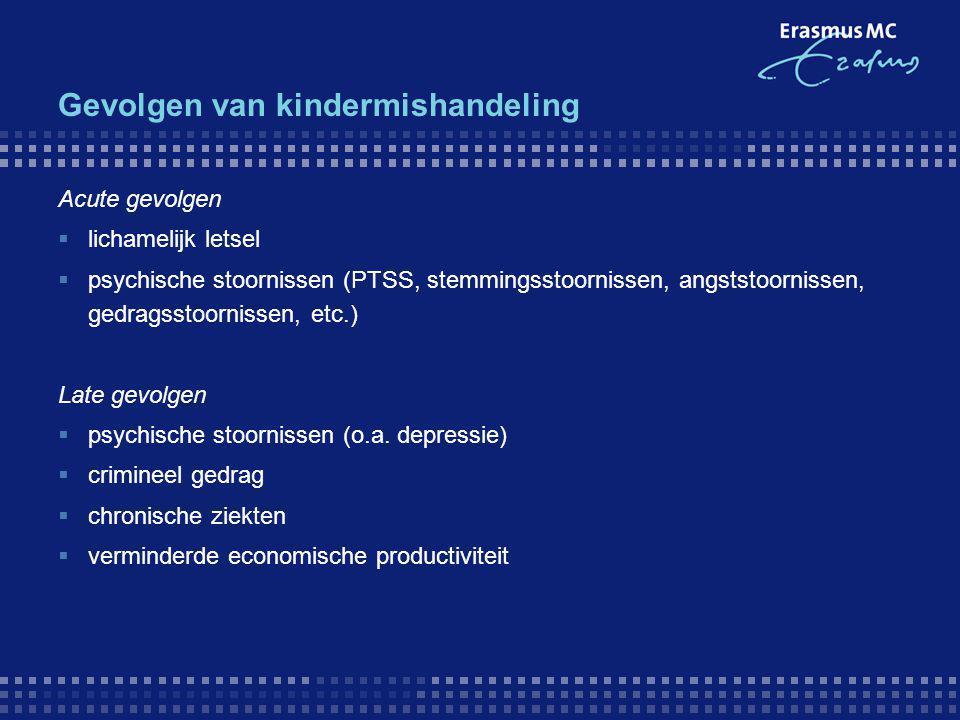 Gevolgen van kindermishandeling Acute gevolgen  lichamelijk letsel  psychische stoornissen (PTSS, stemmingsstoornissen, angststoornissen, gedragssto