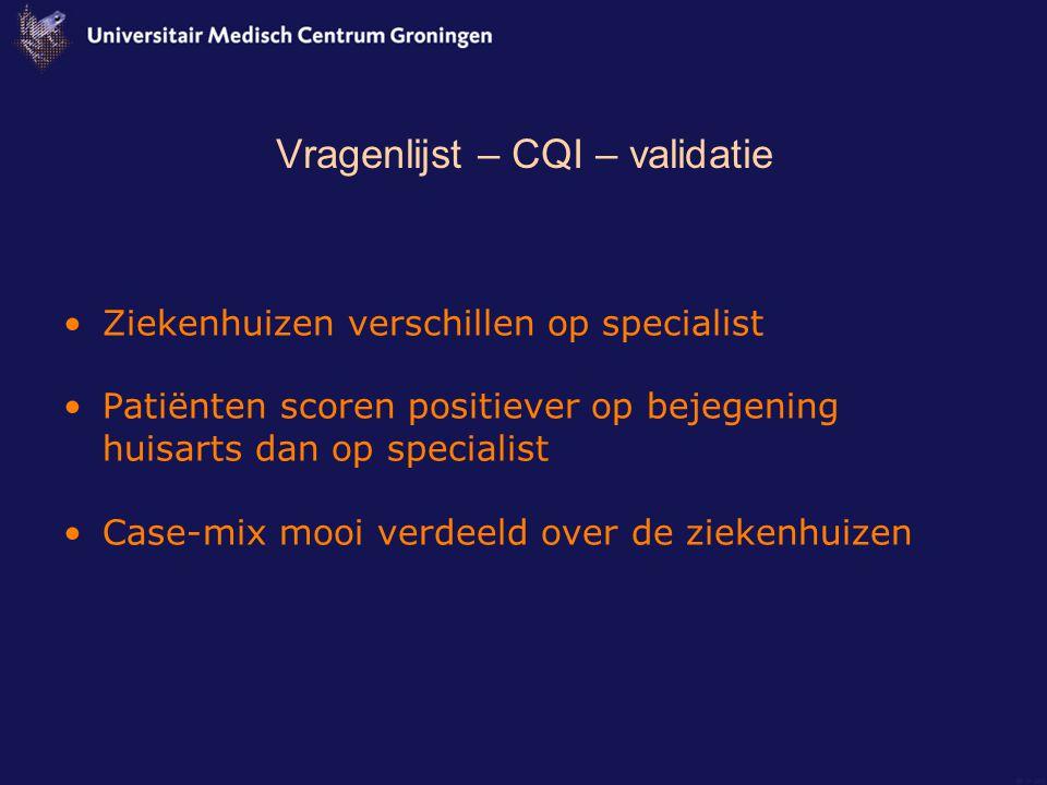 Vragenlijst – CQI – validatie Ziekenhuizen verschillen op specialist Patiënten scoren positiever op bejegening huisarts dan op specialist Case-mix mooi verdeeld over de ziekenhuizen
