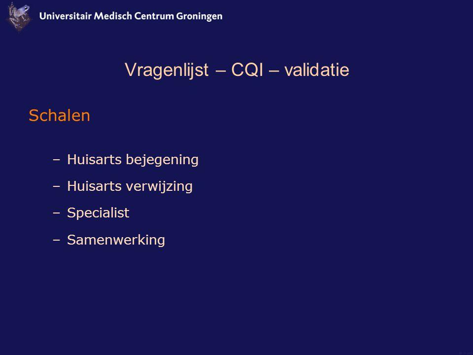 Vragenlijst – CQI – validatie Schalen –Huisarts bejegening –Huisarts verwijzing –Specialist –Samenwerking