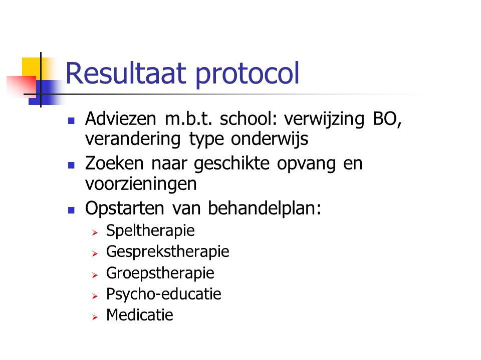 Resultaat protocol Adviezen m.b.t. school: verwijzing BO, verandering type onderwijs Zoeken naar geschikte opvang en voorzieningen Opstarten van behan