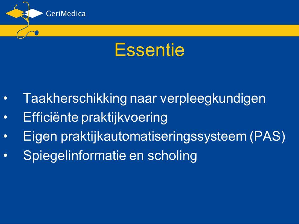 Essentie Taakherschikking naar verpleegkundigen Efficiënte praktijkvoering Eigen praktijkautomatiseringssysteem (PAS) Spiegelinformatie en scholing