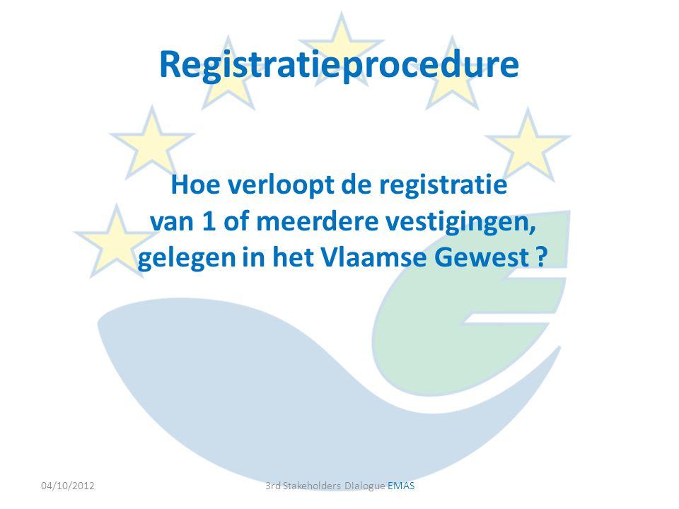 Hoe verloopt de registratie van 1 of meerdere vestigingen, gelegen in het Vlaamse Gewest ? 04/10/20123rd Stakeholders Dialogue EMAS Registratieprocedu