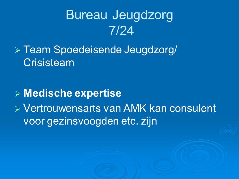 Bureau Jeugdzorg 7/24   Team Spoedeisende Jeugdzorg/ Crisisteam   Medische expertise   Vertrouwensarts van AMK kan consulent voor gezinsvoogden
