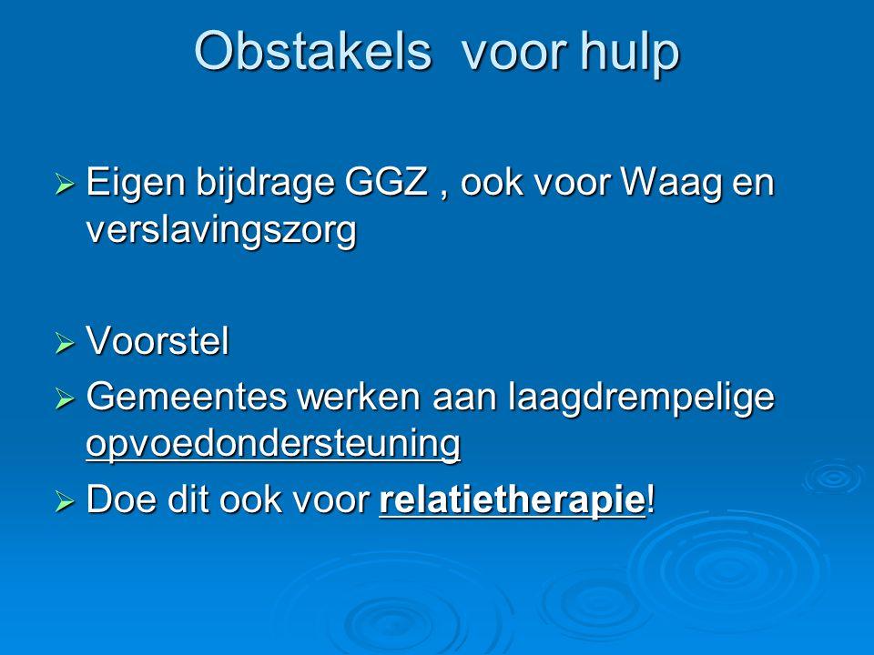 Obstakels voor hulp  Eigen bijdrage GGZ, ook voor Waag en verslavingszorg  Voorstel  Gemeentes werken aan laagdrempelige opvoedondersteuning  Doe