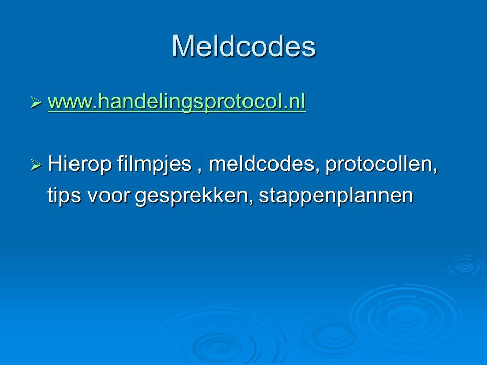 Meldcodes  www.handelingsprotocol.nl www.handelingsprotocol.nl  Hierop filmpjes, meldcodes, protocollen, tips voor gesprekken, stappenplannen tips v