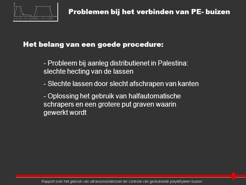 Het belang van een goede procedure: - Probleem bij aanleg distributienet in Palestina: slechte hecting van de lassen - Slechte lassen door slecht afschrapen van kanten - Oplossing het gebruik van halfautomatische schrapers en een grotere put graven waarin gewerkt wordt Problemen bij het verbinden van PE- buizen