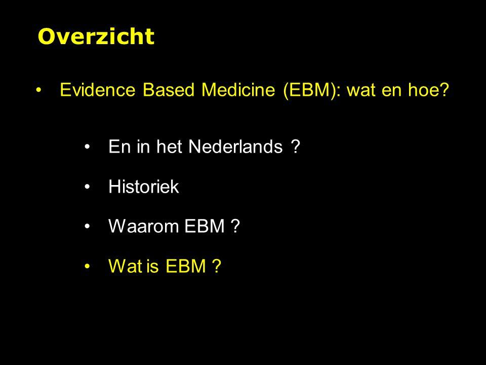 Evidence Based Medicine (EBM): wat en hoe.En in het Nederlands .