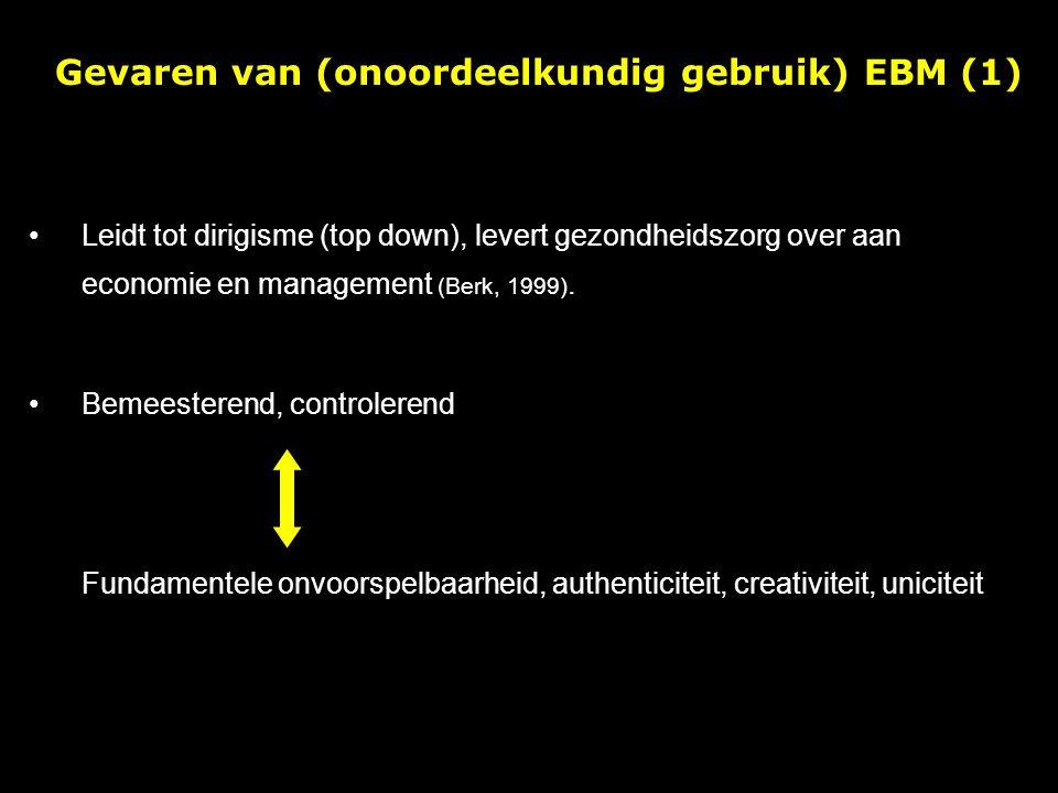 Leidt tot dirigisme (top down), levert gezondheidszorg over aan economie en management (Berk, 1999).