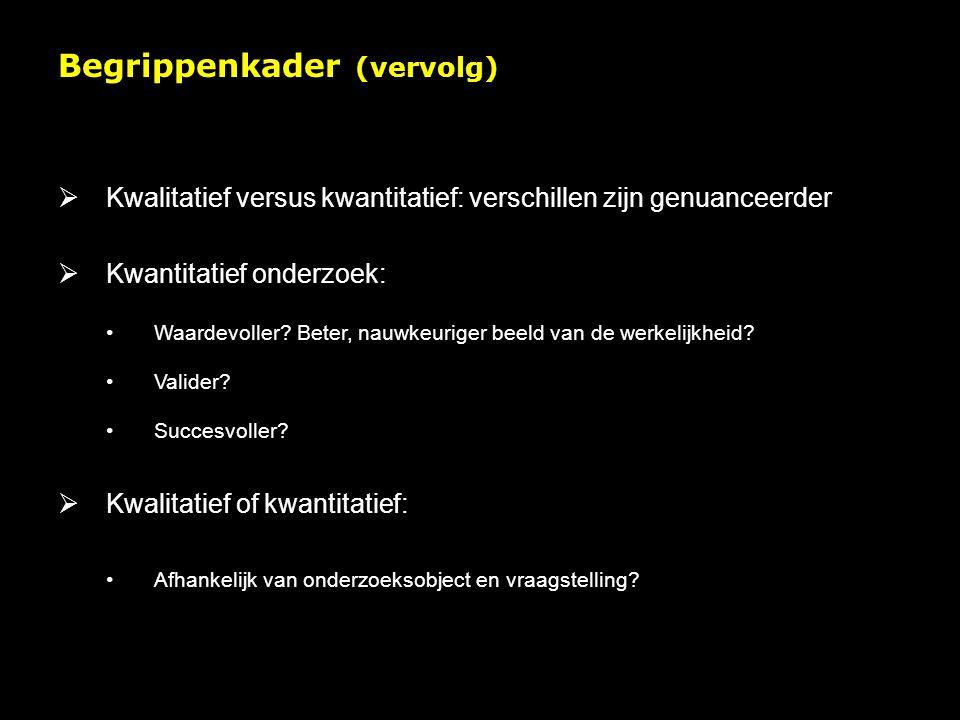 Begrippenkader (vervolg)  Kwalitatief versus kwantitatief: verschillen zijn genuanceerder  Kwantitatief onderzoek: Waardevoller.