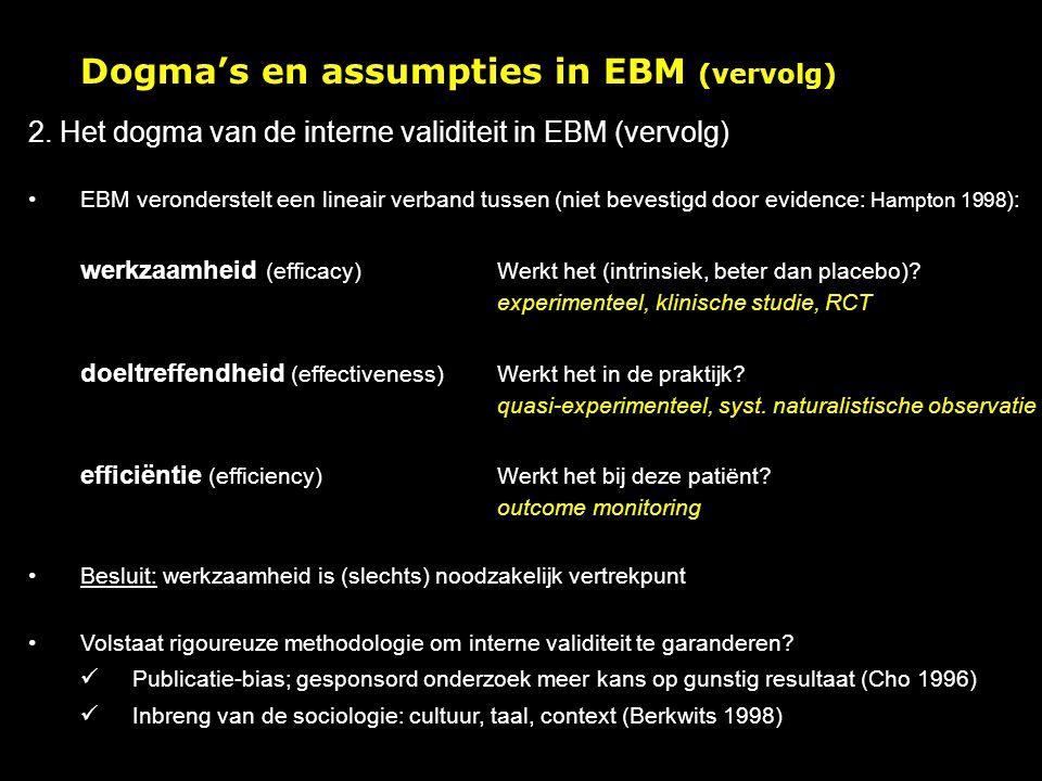 Dogma's en assumpties in EBM (vervolg) 2.