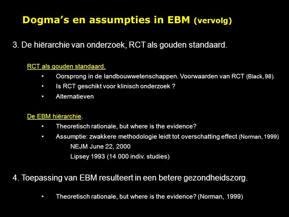 Dogma's en assumpties in EBM (vervolg) 3.De hiërarchie van onderzoek, RCT als gouden standaard.