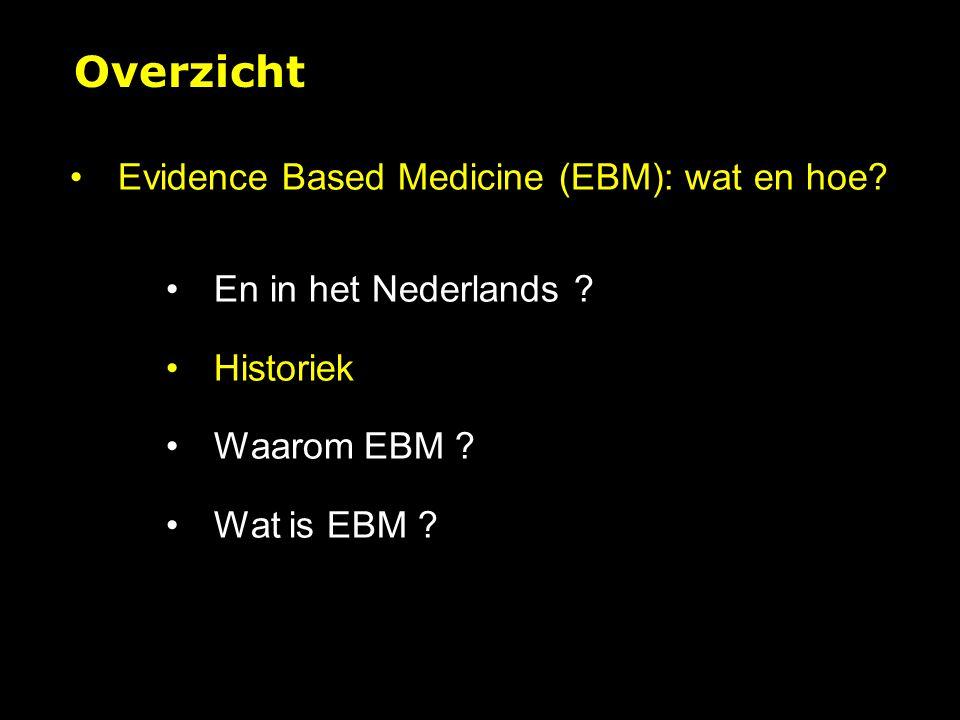 Algoritme voor EBM Formuleer beantwoordbare vraag Zoek 'evidence' Beoordeel evidence kritisch Pas evidence toe zoals/indien relevant Evalueer resultaat KLINISCH PROBLEEM 1Evidence based praktijk (vervolg)