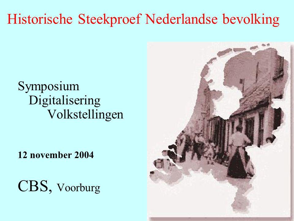 Symposium Digitalisering Volkstellingen 12 november 2004 CBS, Voorburg Historische Steekproef Nederlandse bevolking