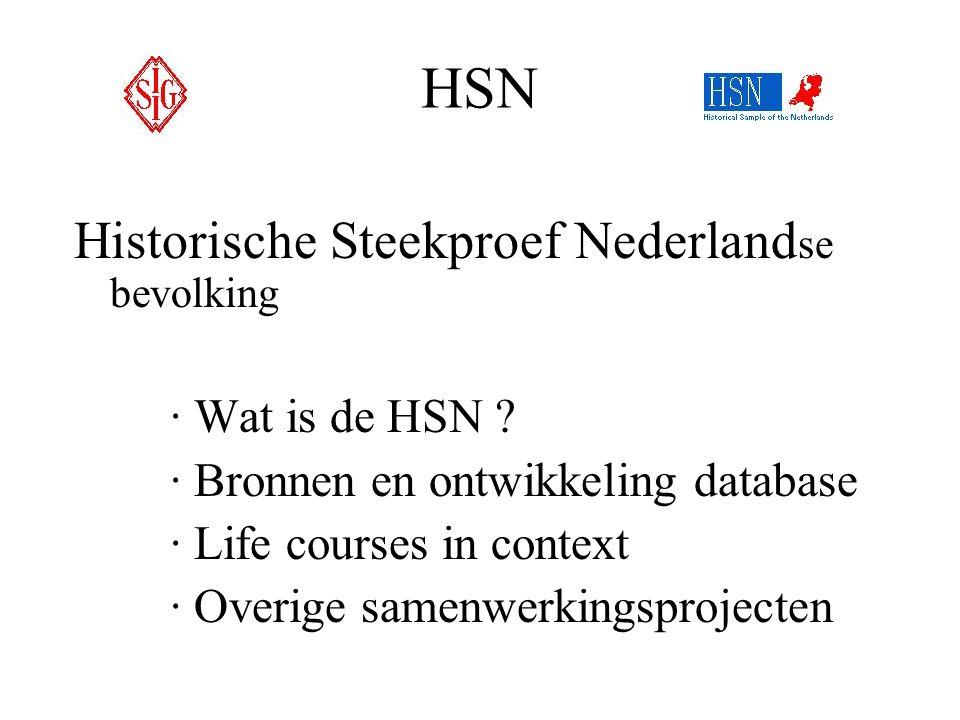 HSN Historische Steekproef Nederland se bevolking ·Wat is de HSN ? ·Bronnen en ontwikkeling database ·Life courses in context ·Overige samenwerkingspr