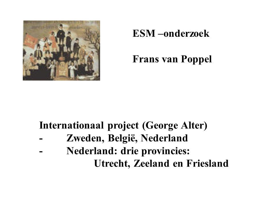 ESM –onderzoek Frans van Poppel Internationaal project (George Alter) -Zweden, België, Nederland -Nederland: drie provincies: Utrecht, Zeeland en Frie