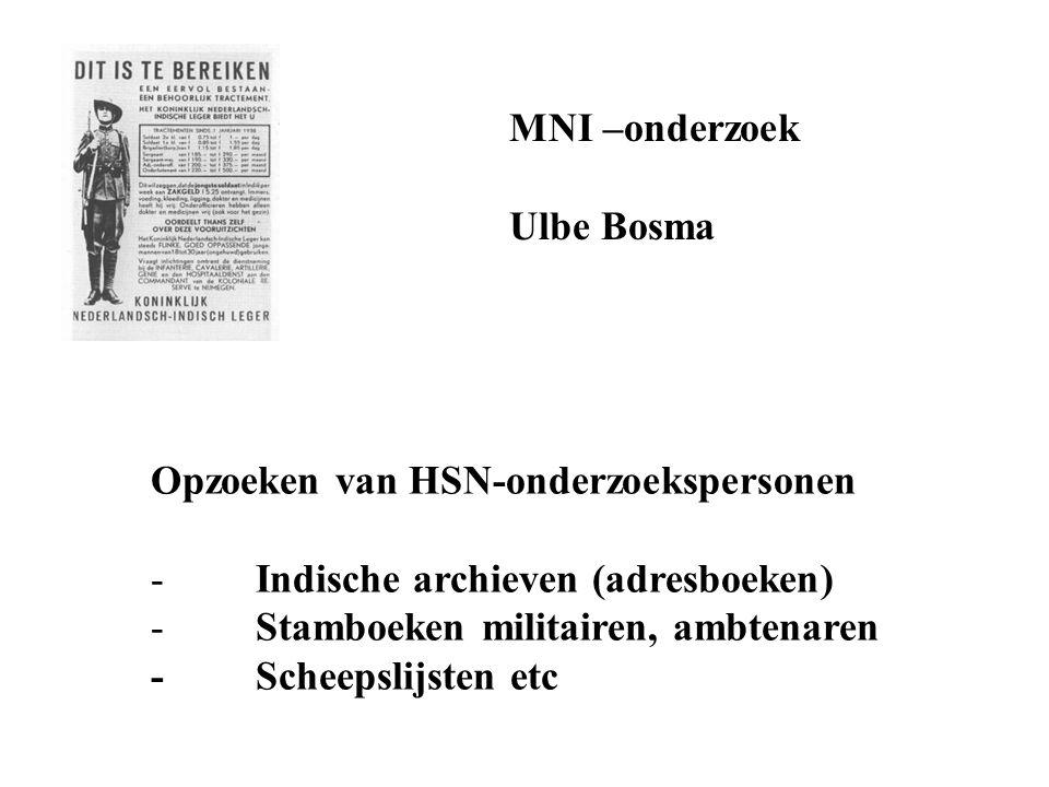MNI –onderzoek Ulbe Bosma Opzoeken van HSN-onderzoekspersonen - Indische archieven (adresboeken) - Stamboeken militairen, ambtenaren - Scheepslijsten