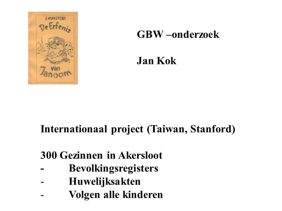 GBW –onderzoek Jan Kok Internationaal project (Taiwan, Stanford) 300 Gezinnen in Akersloot -Bevolkingsregisters -Huwelijksakten - Volgen alle kinderen