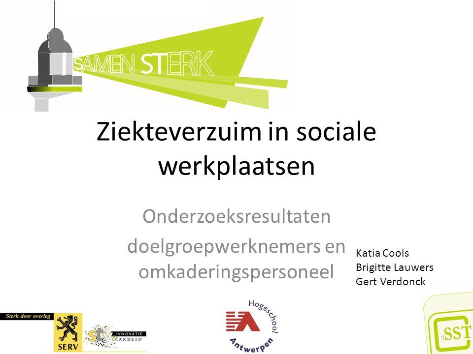 Ziekteverzuim in sociale werkplaatsen Onderzoeksresultaten doelgroepwerknemers en omkaderingspersoneel 1 Katia Cools Brigitte Lauwers Gert Verdonck