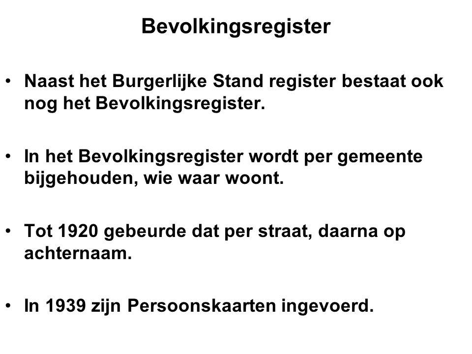Bevolkingsregister Naast het Burgerlijke Stand register bestaat ook nog het Bevolkingsregister. In het Bevolkingsregister wordt per gemeente bijgehoud