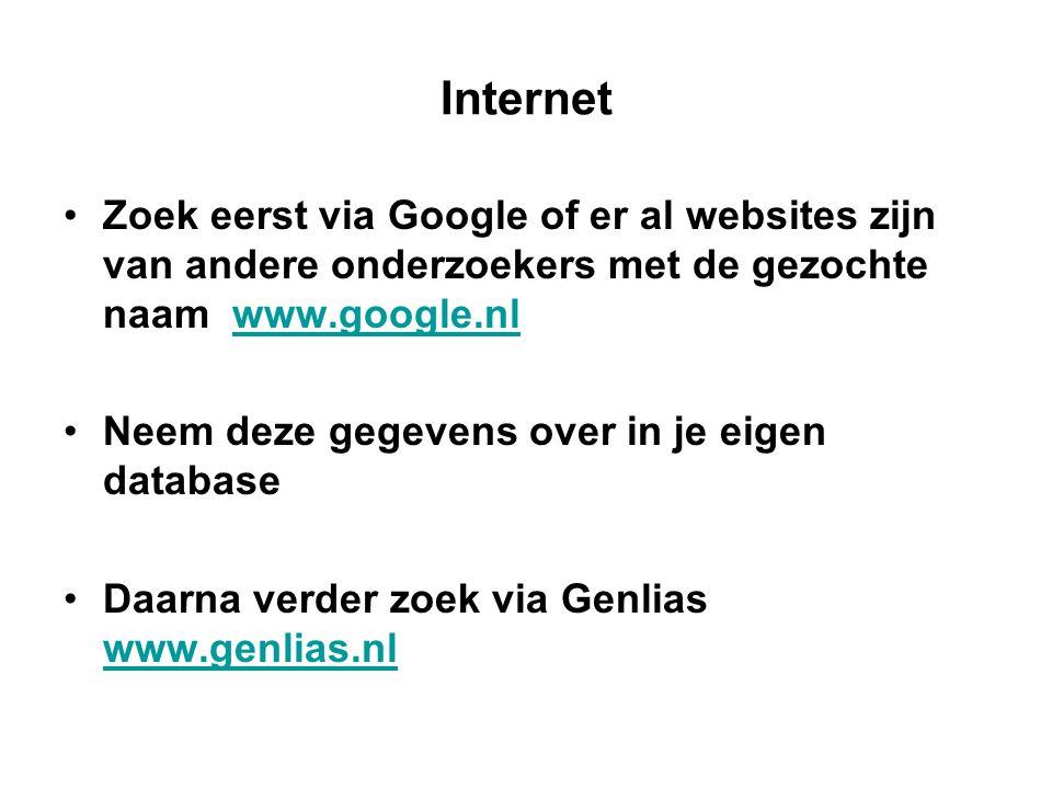 Internet Zoek eerst via Google of er al websites zijn van andere onderzoekers met de gezochte naam www.google.nlwww.google.nl Neem deze gegevens over