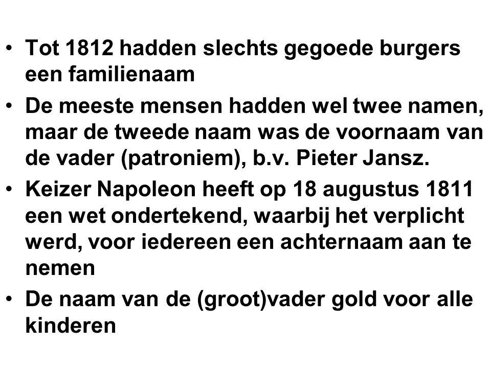 Tot 1812 hadden slechts gegoede burgers een familienaam De meeste mensen hadden wel twee namen, maar de tweede naam was de voornaam van de vader (patr