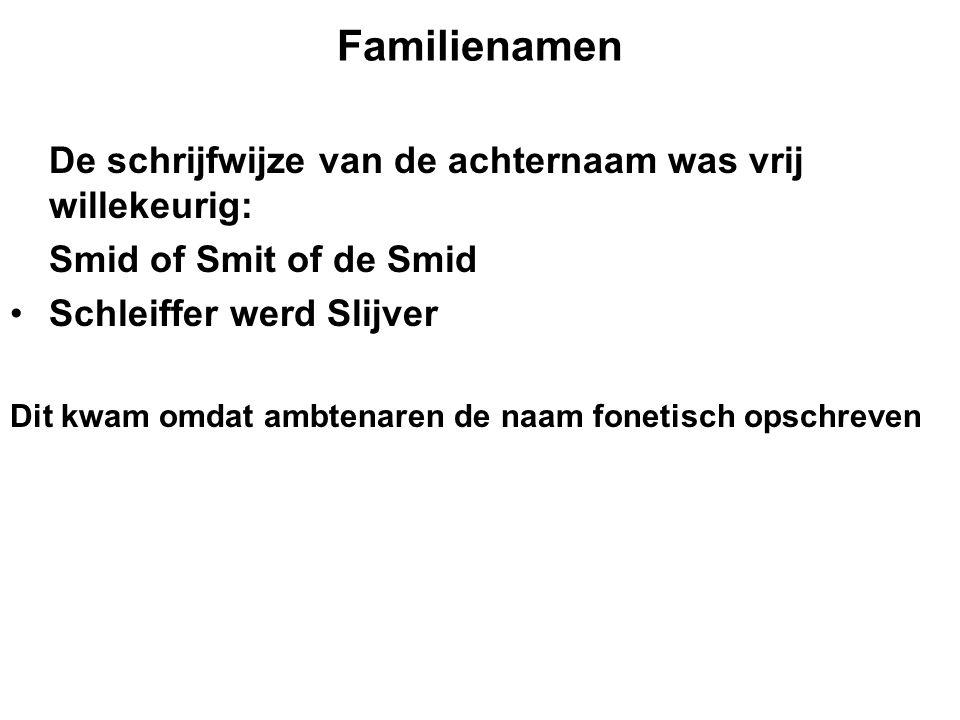 Familienamen De schrijfwijze van de achternaam was vrij willekeurig: Smid of Smit of de Smid Schleiffer werd Slijver Dit kwam omdat ambtenaren de naam