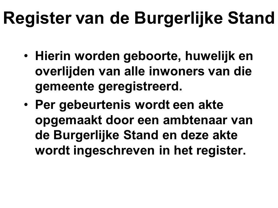 Register van de Burgerlijke Stand Hierin worden geboorte, huwelijk en overlijden van alle inwoners van die gemeente geregistreerd. Per gebeurtenis wor