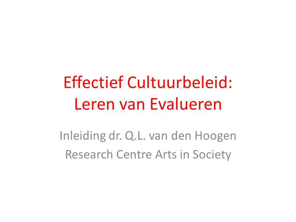 Effectief Cultuurbeleid: Leren van Evalueren Inleiding dr. Q.L. van den Hoogen Research Centre Arts in Society
