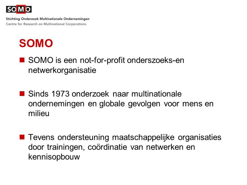 SOMO SOMO is een not-for-profit onderszoeks-en netwerkorganisatie Sinds 1973 onderzoek naar multinationale ondernemingen en globale gevolgen voor mens en milieu Tevens ondersteuning maatschappelijke organisaties door trainingen, coördinatie van netwerken en kennisopbouw