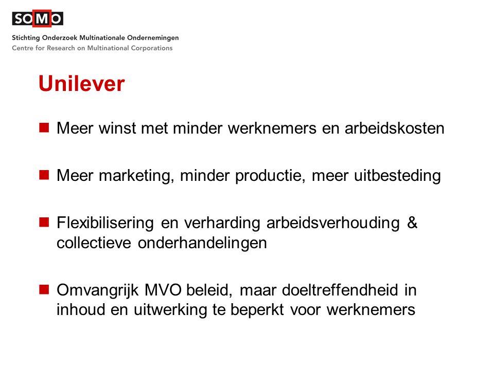 Unilever Meer winst met minder werknemers en arbeidskosten Meer marketing, minder productie, meer uitbesteding Flexibilisering en verharding arbeidsverhouding & collectieve onderhandelingen Omvangrijk MVO beleid, maar doeltreffendheid in inhoud en uitwerking te beperkt voor werknemers