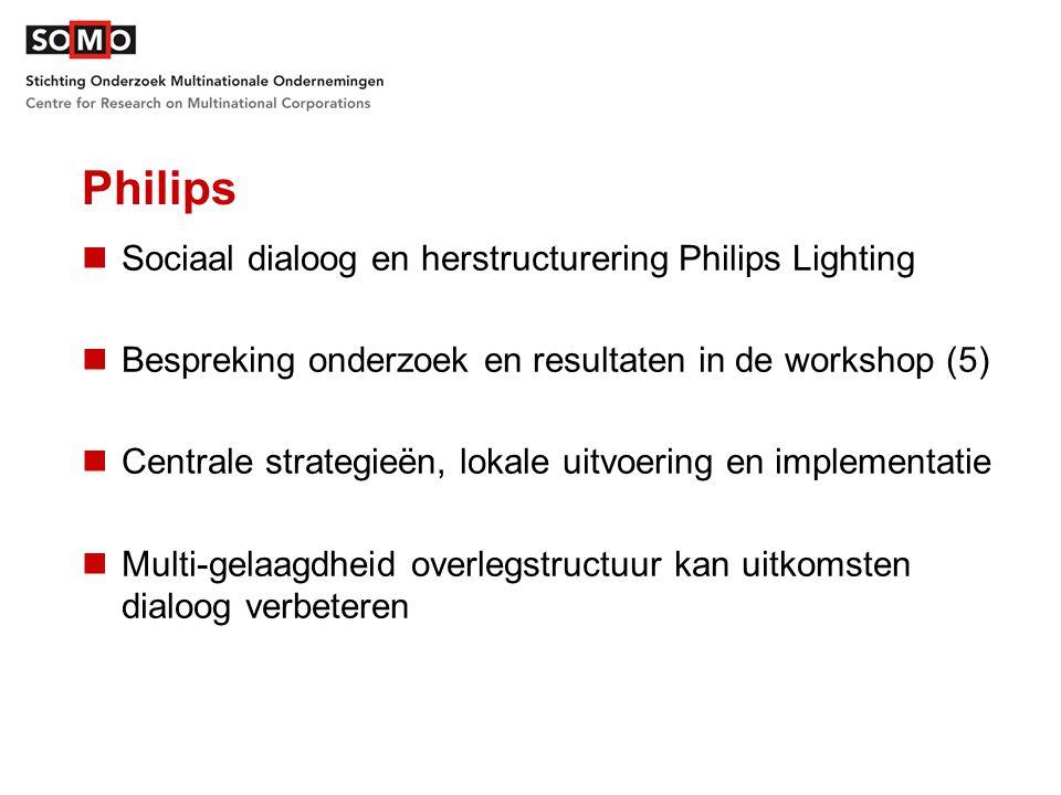 Philips Sociaal dialoog en herstructurering Philips Lighting Bespreking onderzoek en resultaten in de workshop (5) Centrale strategieën, lokale uitvoering en implementatie Multi-gelaagdheid overlegstructuur kan uitkomsten dialoog verbeteren