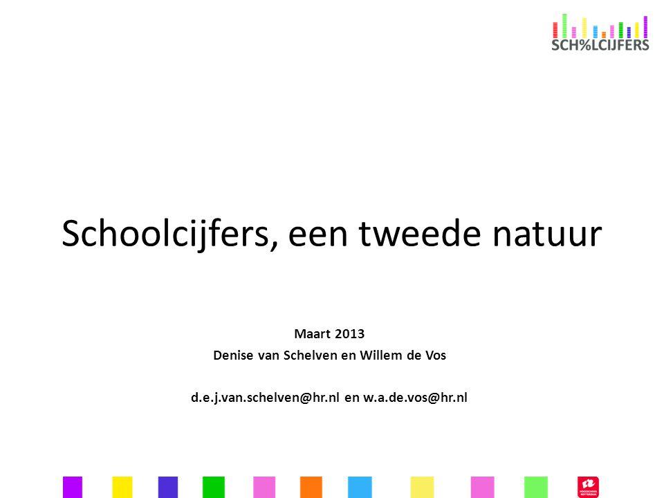 Schoolcijfers, een tweede natuur Maart 2013 Denise van Schelven en Willem de Vos d.e.j.van.schelven@hr.nl en w.a.de.vos@hr.nl