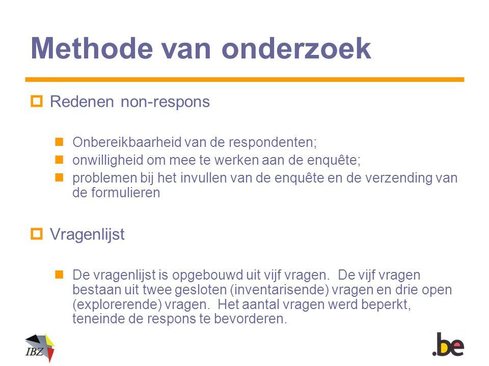 Methode van onderzoek  Redenen non-respons Onbereikbaarheid van de respondenten; onwilligheid om mee te werken aan de enquête; problemen bij het invu