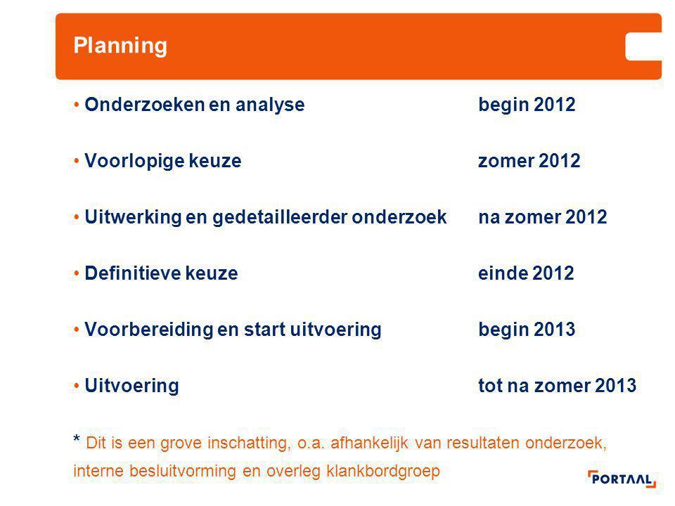 Planning Onderzoeken en analysebegin 2012 Voorlopige keuze zomer 2012 Uitwerking en gedetailleerder onderzoek na zomer 2012 Definitieve keuze einde 20