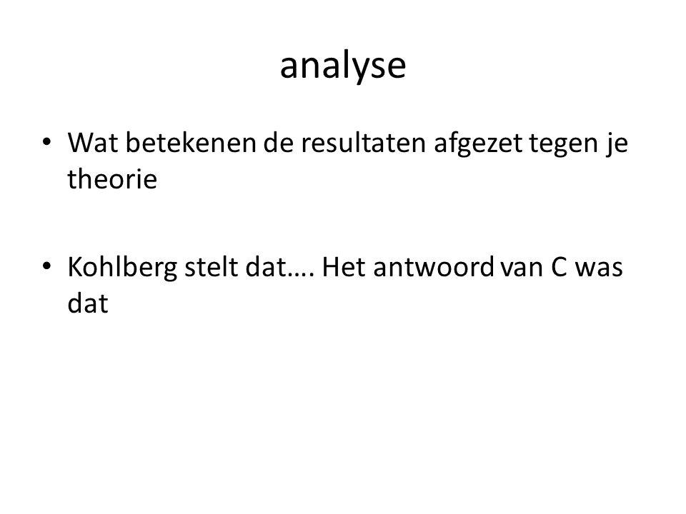 analyse Wat betekenen de resultaten afgezet tegen je theorie Kohlberg stelt dat…. Het antwoord van C was dat