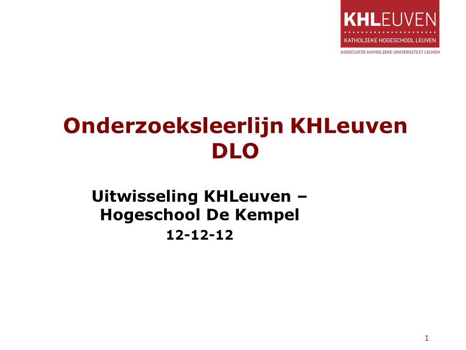Onderzoeksleerlijn KHLeuven DLO Uitwisseling KHLeuven – Hogeschool De Kempel 12-12-12 1