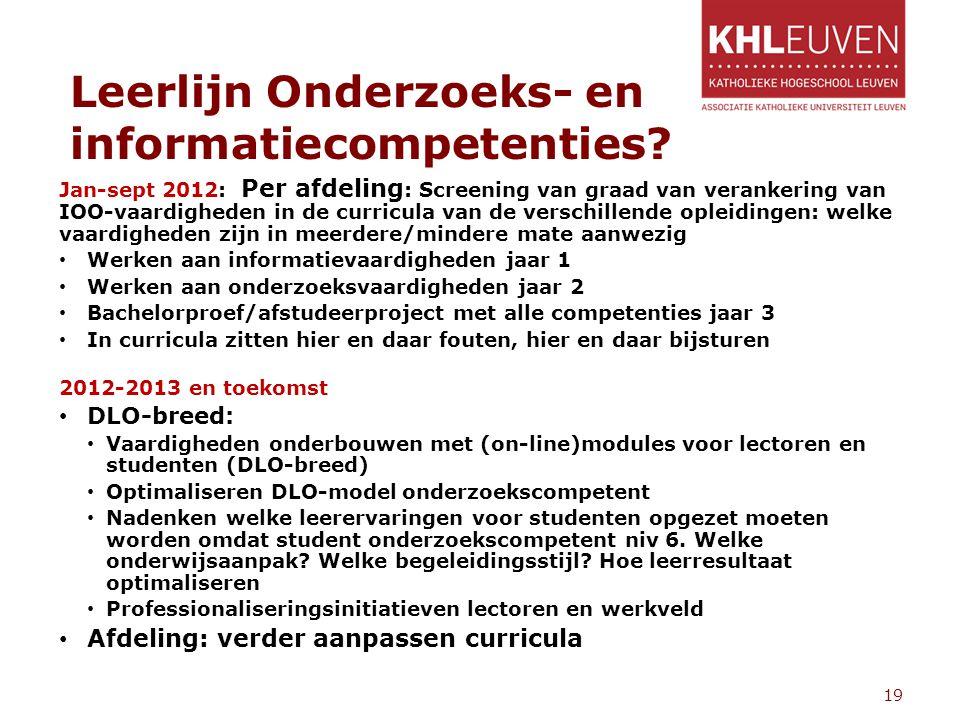 Leerlijn Onderzoeks- en informatiecompetenties? 19 Jan-sept 2012: Per afdeling : Screening van graad van verankering van IOO-vaardigheden in de curric