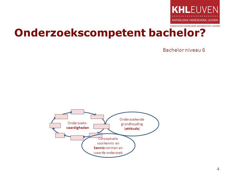 Onderzoekscompetent bachelor? 4 Onderzoekende grondhouding (attitude) Onderzoeks- vaardigheden Conceptuele voorkennis en kennis normen en waarde onder